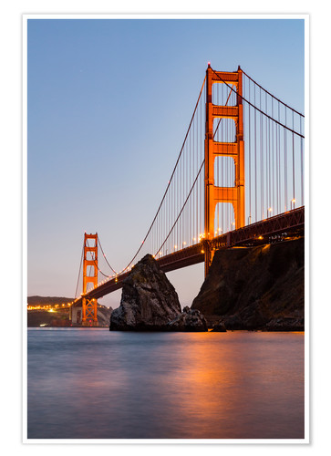 Premium-Poster San Francisco Golden Gate Bridge bei Sonnenuntergang