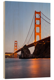 Holzbild  San Francisco Golden Gate Bridge bei Sonnenuntergang