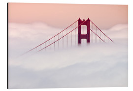 Alubild  Golden Gate Bridge in den Wolken