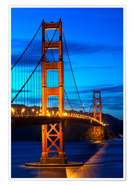 Premium-Poster  Golden Gate Bridge bei Sonnenuntergang, San Francisco