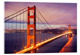 Acrylglas  Die Golden Gate Bridge in der Nacht, San Francisco