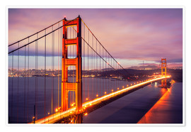 Premium-Poster  Die Golden Gate Bridge in der Nacht, San Francisco
