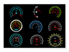 Premium-Poster  Speedometers for mph Fans