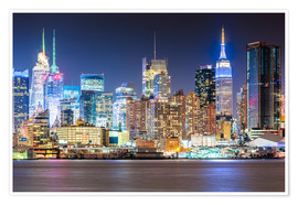 Premium-Poster  Manhattan Skyline in Neon Colors - Sascha Kilmer
