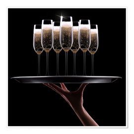 Poster Hand mit Champagner