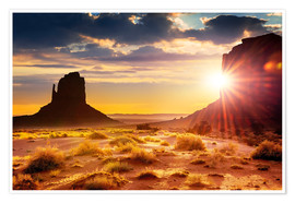 Poster  Sonnenuntergang an den Schwestern in Monument Valley, USA
