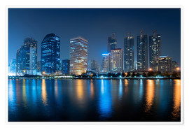 Premium-Poster  Bangkok City Downtown in der Nacht