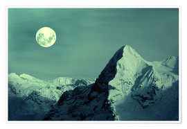 Premium-Poster Vollmond am Eiger