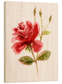 Holzbild  Rote Rose - Verbrugge Watercolor