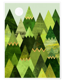 Poster  Forest Mountains - Elisabeth Fredriksson