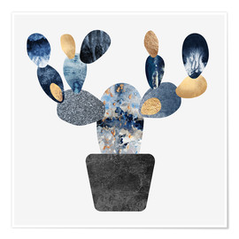 Premium-Poster Blue And Gold Cactus
