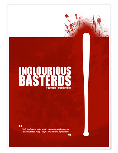 Premium-Poster Inglourious Basterds - Minimal Movie Film Fanart - Tarantino Alternative