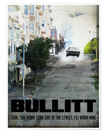 Poster  alternative bullitt retro film art - 2ToastDesign