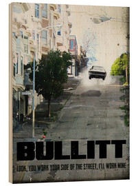 Holzbild  alternative bullitt retro film art - 2ToastDesign