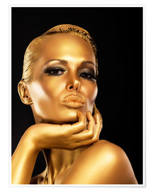 Premium-Poster Frau mit Gold-Make-up