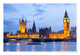 Premium-Poster  Big Ben und Westminster Bridge in London