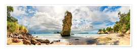 Poster Traumstrand - Cathedral Cove Beach - Neuseeland