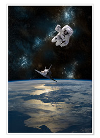 Poster  Astronaut schwebt im All - Marc Ward