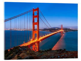 Acrylglasbild  Nachtaufnahme der Golden Gate Bridge in San Francisco Kalifornien, USA - Jan Christopher Becke