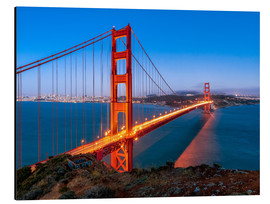 Alubild  Nachtaufnahme der Golden Gate Bridge in San Francisco Kalifornien, USA - Jan Christopher Becke