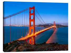 Leinwandbild  Nachtaufnahme der Golden Gate Bridge in San Francisco Kalifornien, USA - Jan Christopher Becke