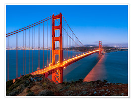 Premium-Poster Nachtaufnahme der Golden Gate Bridge in San Francisco Kalifornien, USA