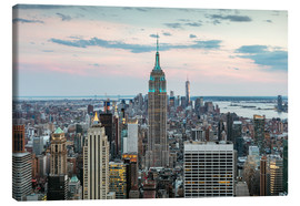 Leinwandbild  Skyline von Manhattan mit Empire State Building bei Sonnenuntergang, Stadt New York, USA - Matteo Colombo