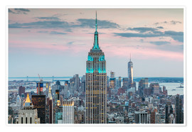 Premium-Poster Empire State Building und die Skyline von Manhattan in der Dämmerung, New York City, USA