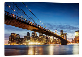 Acrylglasbild  Brooklyn-Brücke und Manhattan in der Nacht, New York City, USA - Matteo Colombo