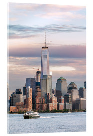 Acrylglasbild  World Trade Center und Manhattan Skyline bei Sonnenuntergang, New York City, USA - Matteo Colombo