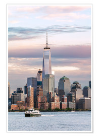 Premium-Poster World Trade Center und Manhattan Skyline bei Sonnenuntergang, New York City, USA