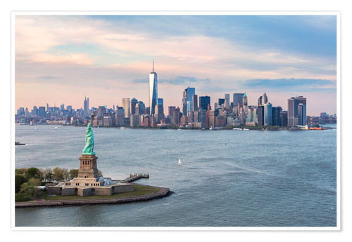 Premium-Poster Freiheitsstatue und World Trade Center, New York