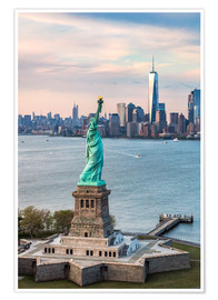 Premium-Poster Freiheitsstatue und One World Trade Center