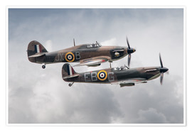 Poster  BBMF SPit and Hurry - airpowerart