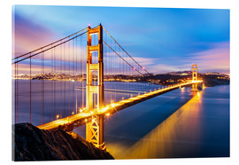Acrylglas  Sonnenaufgang über Golden Gate Bridge und San Francisco Bay, Kalifornien, USA - Matteo Colombo
