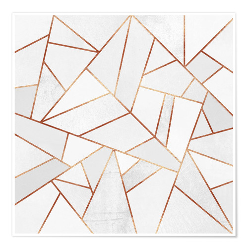 Premium-Poster White Stone and Copper Lines