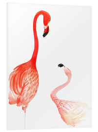 Hartschaumbild  Flamingo Love - Rongrong DeVoe