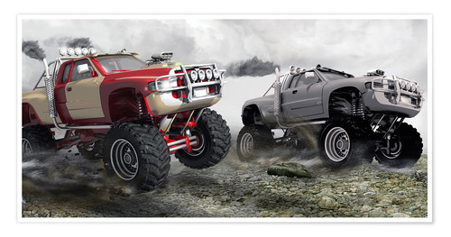 Premium-Poster Monstertruck Wettrennen