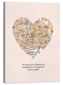 Leinwandbild  I'll meet you in Barcelona - Romantik Typo - Nory Glory Prints