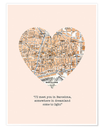 Premium-Poster I'll meet you in Barcelona - Romantik Typo
