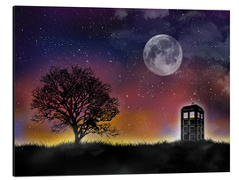 Alubild  Doctor who tardis night sky tv serie inspired art - Golden Planet Prints