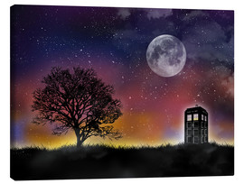 Leinwandbild  Doctor who tardis night sky tv serie inspired art - Golden Planet Prints