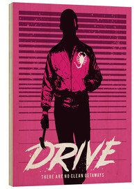 Holzbild  Drive ryan gosling movie inspired art - Golden Planet Prints