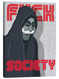 Leinwandbild  F*ck Society, Mr. Robot - Golden Planet Prints