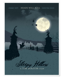 Poster Sleepy hollow heads will roll movie inspired illustration