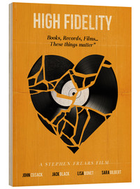 Holzbild  High fidelity Minimalist art movie inspired - Golden Planet Prints
