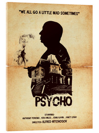 Acrylglas  Psycho movie hitchcock silhouette art - Golden Planet Prints