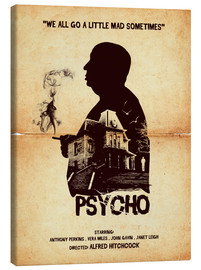 Leinwandbild  Psycho movie hitchcock silhouette art - Golden Planet Prints