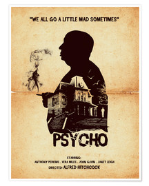 Premium-Poster  Psycho movie hitchcock silhouette art - Golden Planet Prints