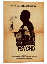 Golden Planet Prints - Psycho movie hitchcock silhouette art